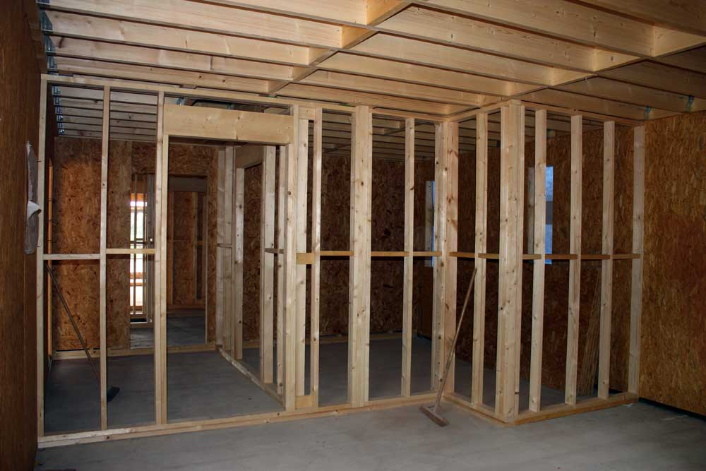 Internal stud walls built